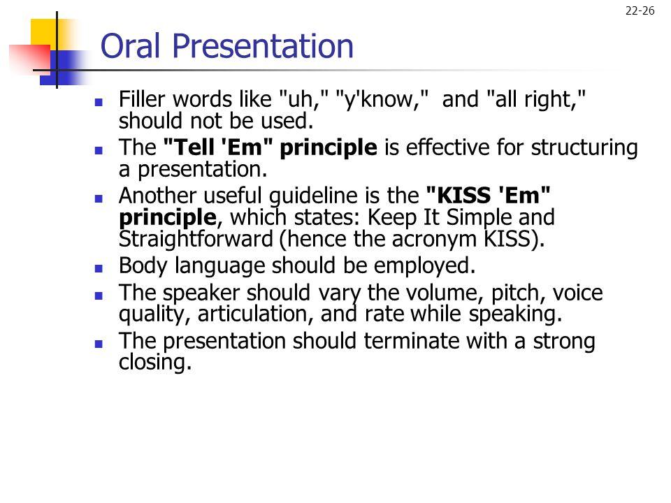 22-26 Oral Presentation  Filler words like