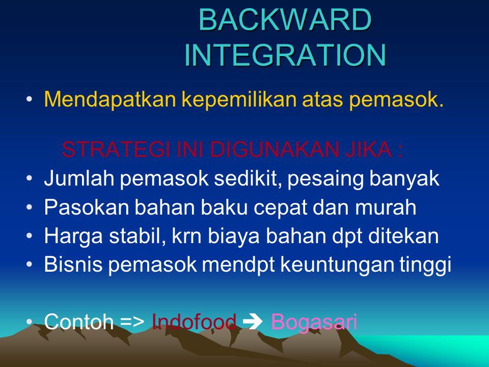 HORIZONTAL INTEGRATION •MENDAPATKAN KEPEMILIKAN ATAS PESAING STRATEGI INI DIGUNAKAN JIKA PERUSAHAAN : 1.
