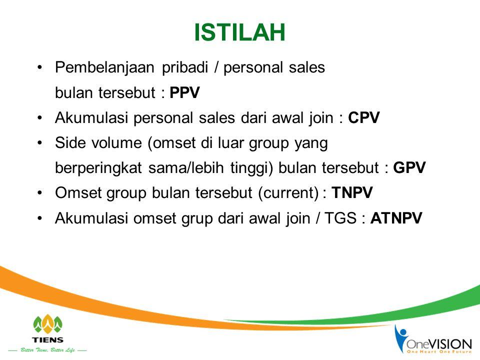 ISTILAH •Pembelanjaan pribadi / personal sales bulan tersebut : PPV •Akumulasi personal sales dari awal join : CPV •Side volume (omset di luar group y