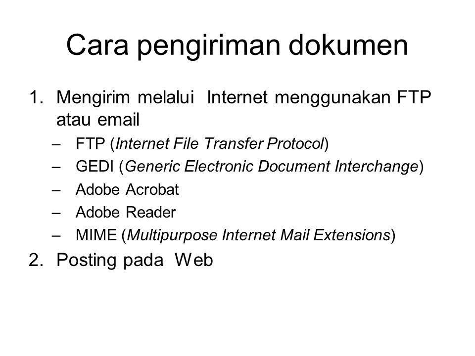 Cara pengiriman dokumen 1.Mengirim melalui Internet menggunakan FTP atau email –FTP (Internet File Transfer Protocol) –GEDI (Generic Electronic Document Interchange) –Adobe Acrobat –Adobe Reader –MIME (Multipurpose Internet Mail Extensions) 2.Posting pada Web
