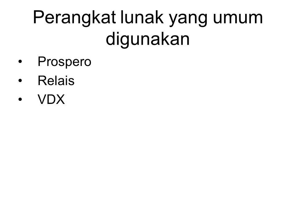 Perangkat lunak yang umum digunakan •Prospero •Relais •VDX