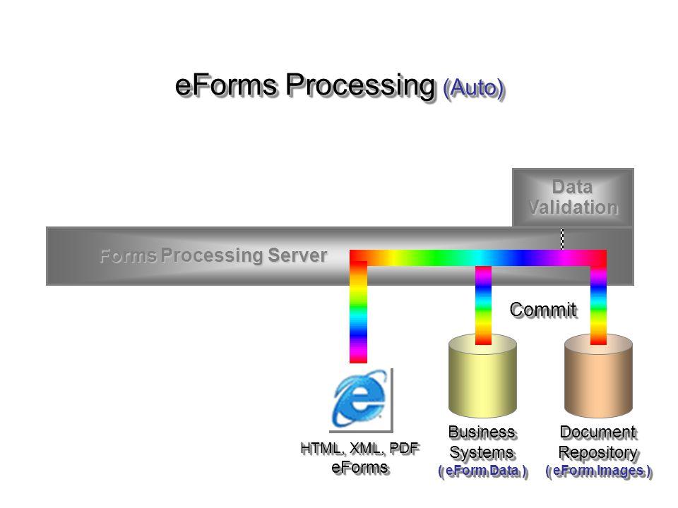 Forms Processing Server Forms Processing Server HTML, XML, PDF eForms Data Validation eForms Processing (Auto) DocumentRepository ( eForm Images ) Doc