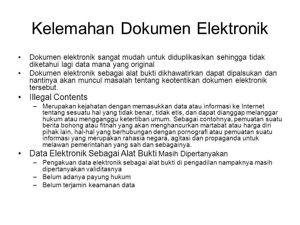 Hal-hal yang Mendukung Dokumen Elektronik •OnLine Trading dalam kegiatan bursa efek •Pengakuan mikrofilm sebagai media penyimpanan (16) •UNCITRAL menyusun draft untuk Konvensi Pembentukan Kontrak Elektronik, bertujuan : –Menghapuskan hambatan hukum dalam pembentukan kontrak yang digunakan secara elektronik dalam komunikasi.