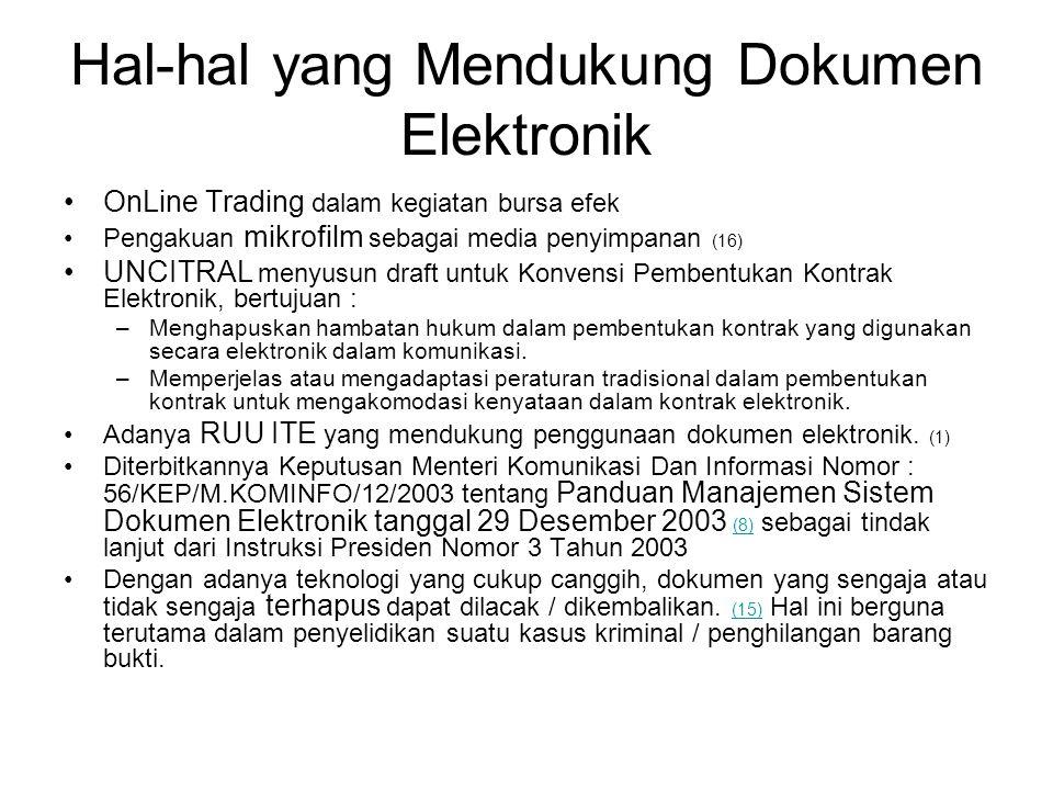 Hal-hal yang Mendukung Dokumen Elektronik •OnLine Trading dalam kegiatan bursa efek •Pengakuan mikrofilm sebagai media penyimpanan (16) •UNCITRAL meny