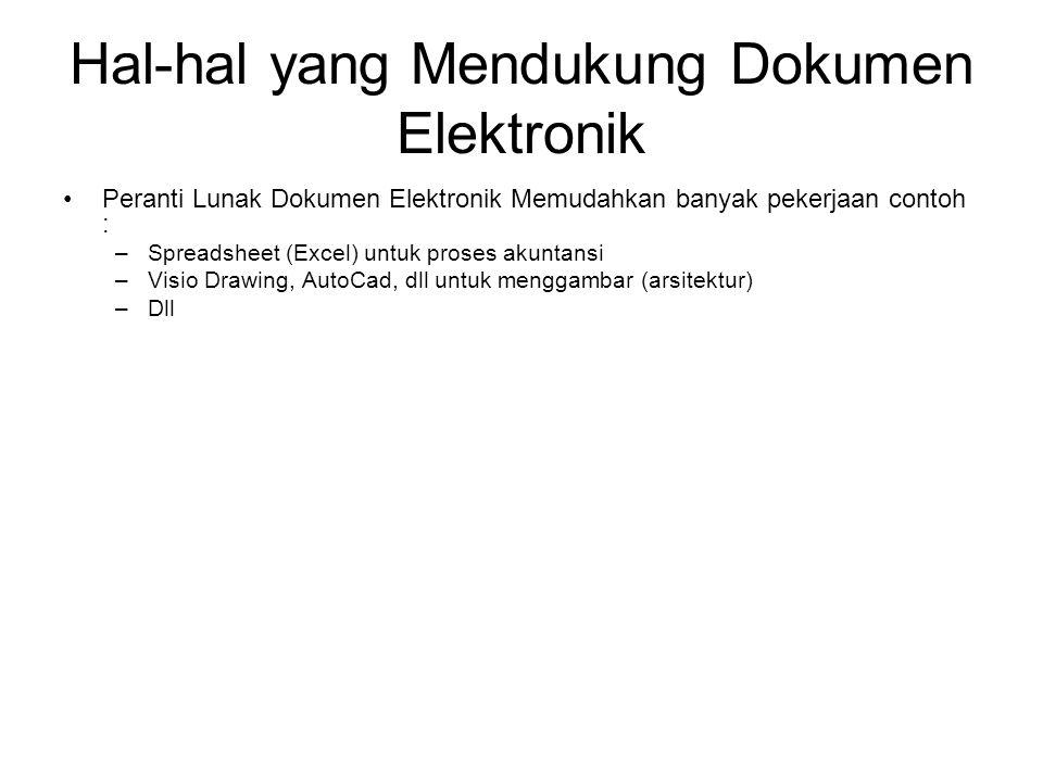 Hal-hal yang Mendukung Dokumen Elektronik •Peranti Lunak Dokumen Elektronik Memudahkan banyak pekerjaan contoh : –Spreadsheet (Excel) untuk proses akuntansi –Visio Drawing, AutoCad, dll untuk menggambar (arsitektur) –Dll