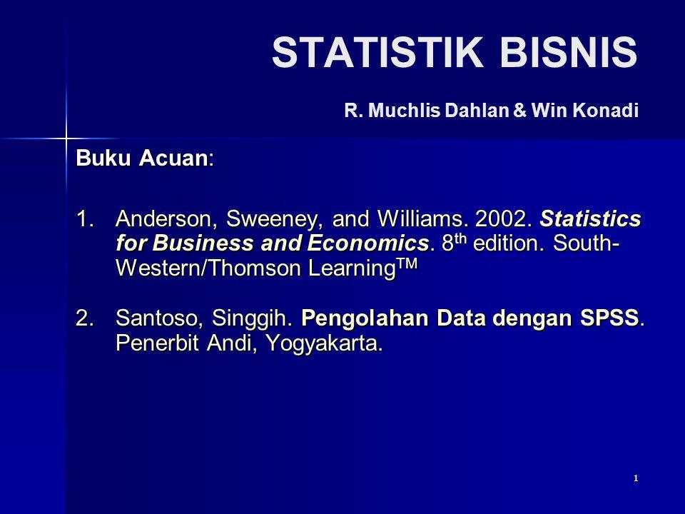 1 STATISTIK BISNIS R.Muchlis Dahlan & Win Konadi Buku Acuan: 1.Anderson, Sweeney, and Williams.