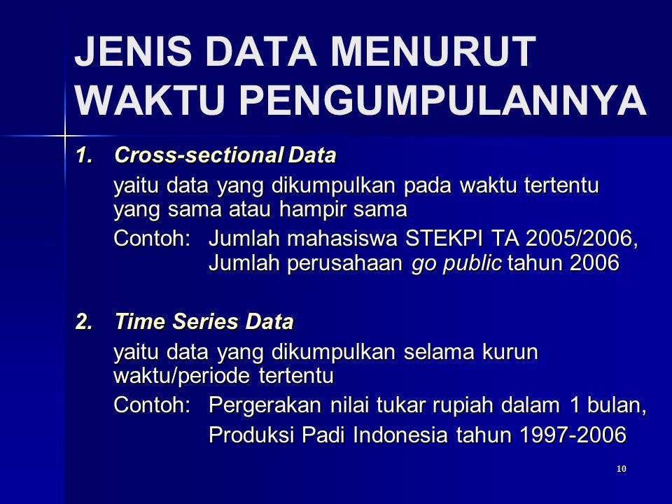 10 JENIS DATA MENURUT WAKTU PENGUMPULANNYA 1.Cross-sectional Data yaitu data yang dikumpulkan pada waktu tertentu yang sama atau hampir sama Contoh: Jumlah mahasiswa STEKPI TA 2005/2006, Jumlah perusahaan go public tahun 2006 2.Time Series Data yaitu data yang dikumpulkan selama kurun waktu/periode tertentu Contoh: Pergerakan nilai tukar rupiah dalam 1 bulan, Produksi Padi Indonesia tahun 1997-2006