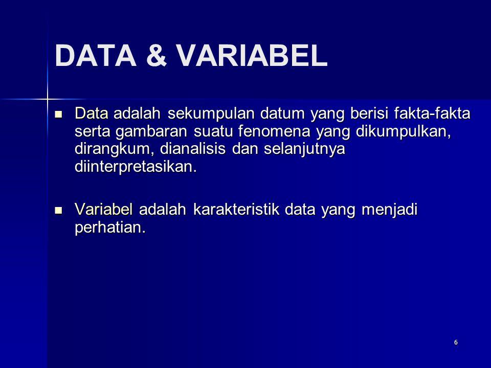6 DATA & VARIABEL  Data adalah sekumpulan datum yang berisi fakta-fakta serta gambaran suatu fenomena yang dikumpulkan, dirangkum, dianalisis dan selanjutnya diinterpretasikan.