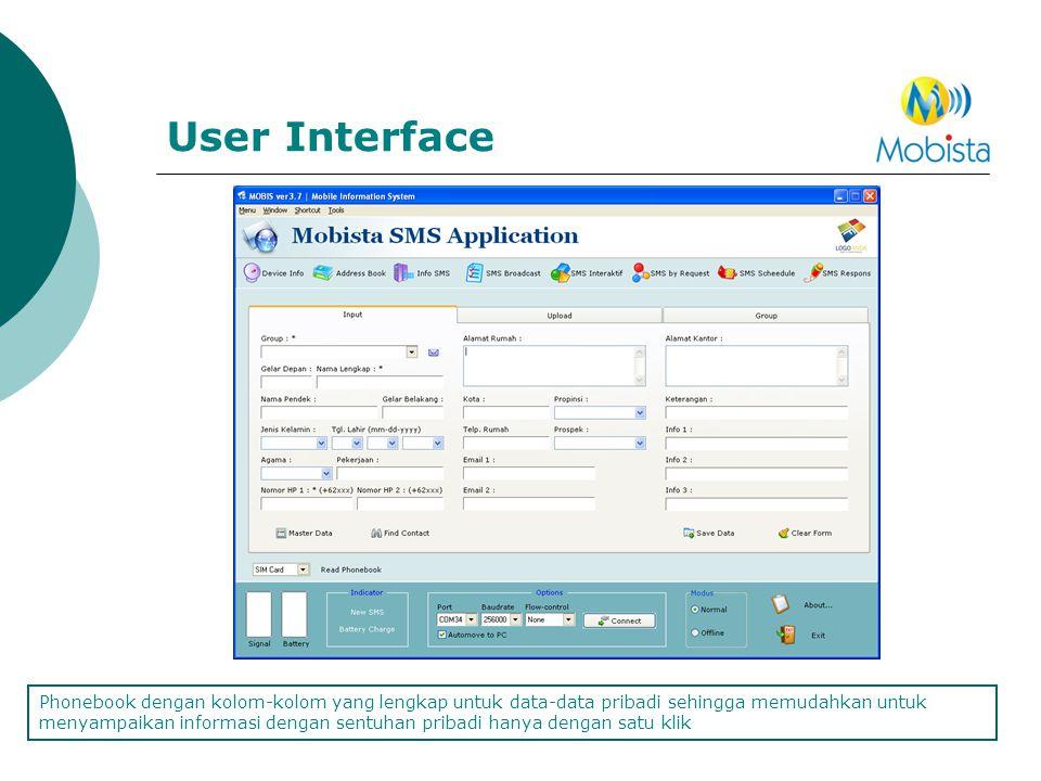 User Interface Phonebook dengan kolom-kolom yang lengkap untuk data-data pribadi sehingga memudahkan untuk menyampaikan informasi dengan sentuhan prib