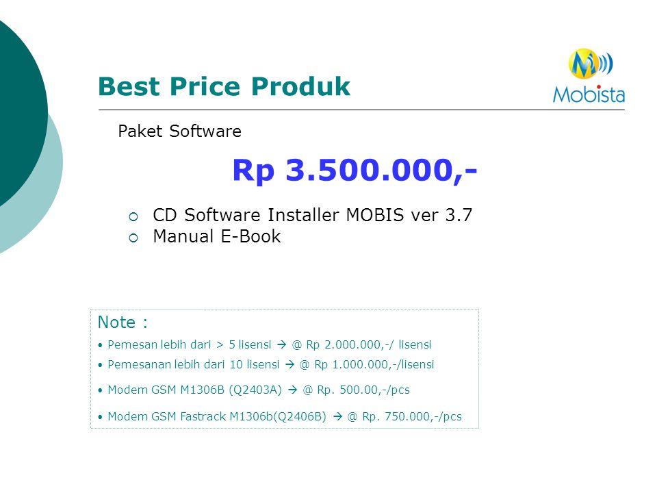 Best Price Produk Rp 3.500.000,-  CD Software Installer MOBIS ver 3.7  Manual E-Book Note : • Pemesan lebih dari > 5 lisensi  @ Rp 2.000.000,-/ lis