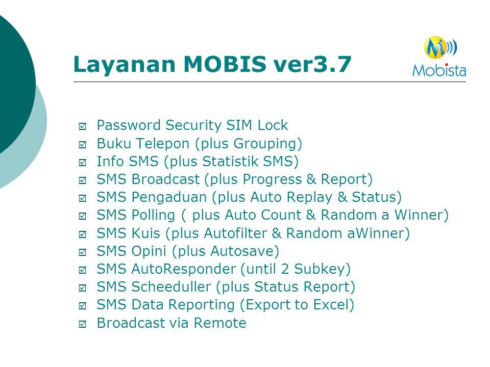Layanan MOBIS ver3.7  Password Security SIM Lock  Buku Telepon (plus Grouping)  Info SMS (plus Statistik SMS)  SMS Broadcast (plus Progress & Repo