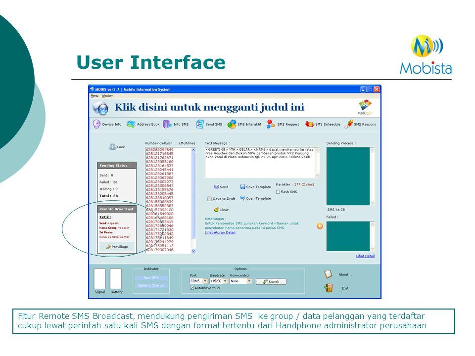 User Interface Fitur Remote SMS Broadcast, mendukung pengiriman SMS ke group / data pelanggan yang terdaftar cukup lewat perintah satu kali SMS dengan