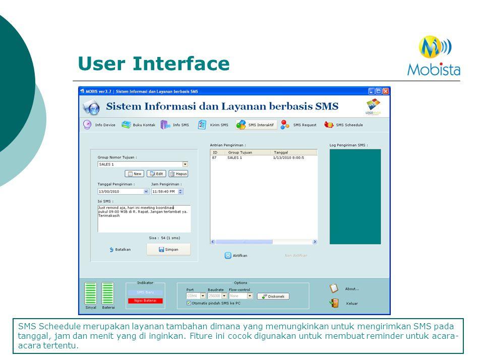 User Interface SMS Scheedule merupakan layanan tambahan dimana yang memungkinkan untuk mengirimkan SMS pada tanggal, jam dan menit yang di inginkan. F