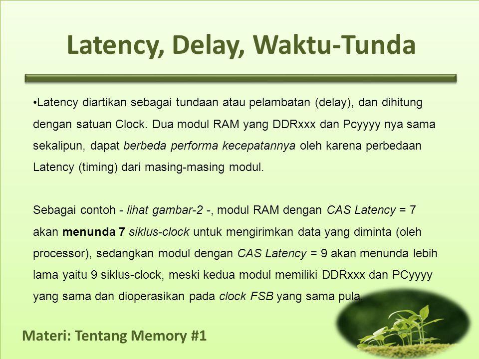 Materi: Tentang Memory #1 Latency, Delay, Waktu-Tunda •Latency diartikan sebagai tundaan atau pelambatan (delay), dan dihitung dengan satuan Clock. Du