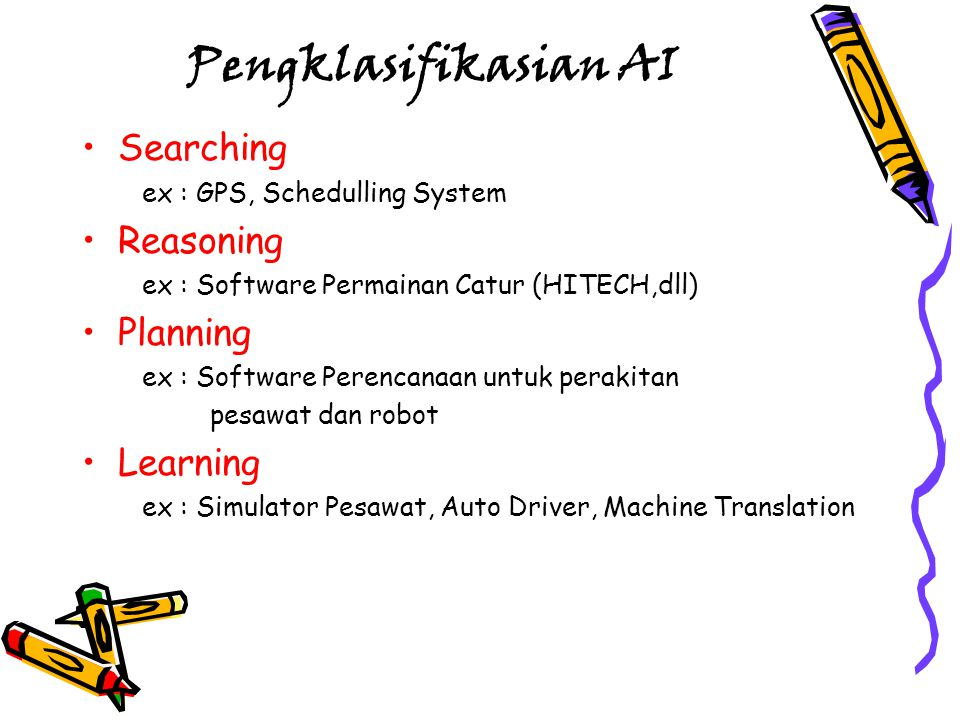 Pengklasifikasian AI •Searching ex : GPS, Schedulling System •Reasoning ex : Software Permainan Catur (HITECH,dll) •Planning ex : Software Perencanaan