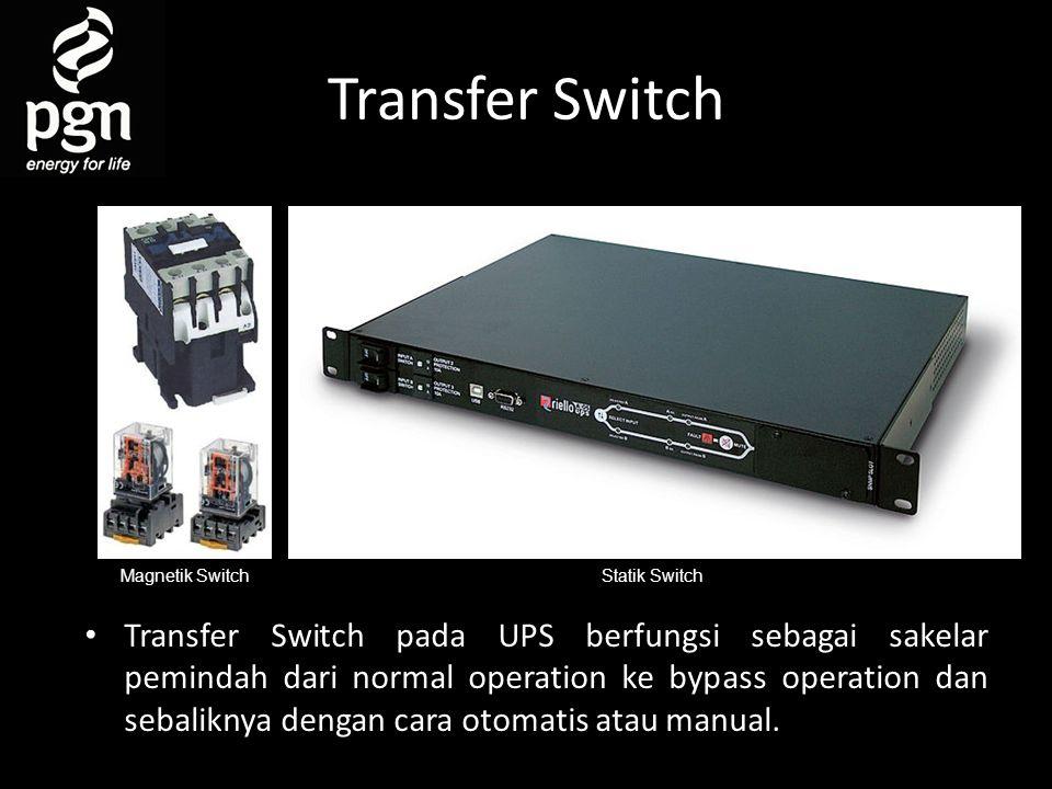 Transfer Switch • Transfer Switch pada UPS berfungsi sebagai sakelar pemindah dari normal operation ke bypass operation dan sebaliknya dengan cara otomatis atau manual.
