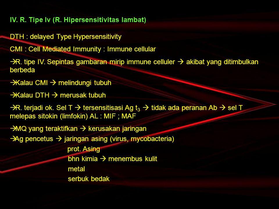 IV. R. Tipe Iv (R. Hipersensitivitas lambat) DTH : delayed Type Hypersensitivity CMI : Cell Mediated Immunity : Immune cellular  R. tipe IV. Sepintas