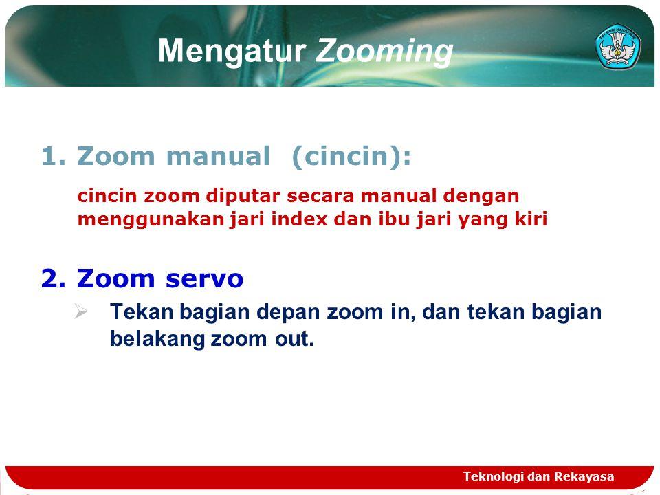 Mengatur Zooming 1.Zoom manual (cincin): cincin zoom diputar secara manual dengan menggunakan jari index dan ibu jari yang kiri 2.Zoom servo  Tekan b