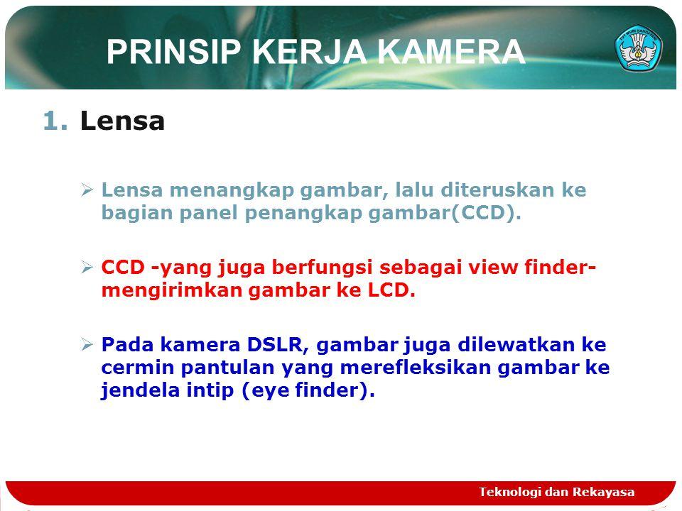 PRINSIP KERJA KAMERA 1.Lensa  Lensa menangkap gambar, lalu diteruskan ke bagian panel penangkap gambar(CCD).  CCD -yang juga berfungsi sebagai view