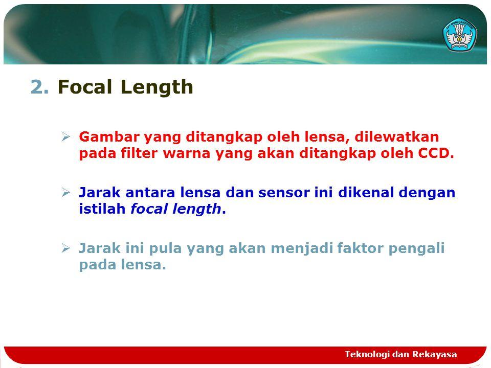 2.Focal Length  Gambar yang ditangkap oleh lensa, dilewatkan pada filter warna yang akan ditangkap oleh CCD.  Jarak antara lensa dan sensor ini dike