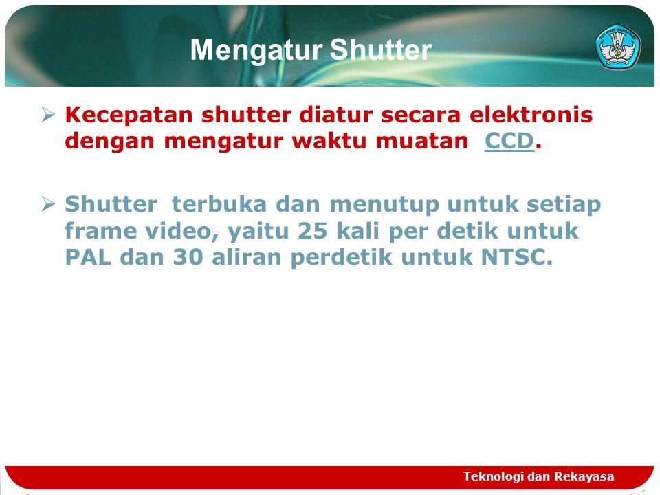 Mengatur Shutter  Kecepatan shutter diatur secara elektronis dengan mengatur waktu muatan CCD.CCD  Shutter terbuka dan menutup untuk setiap frame vi