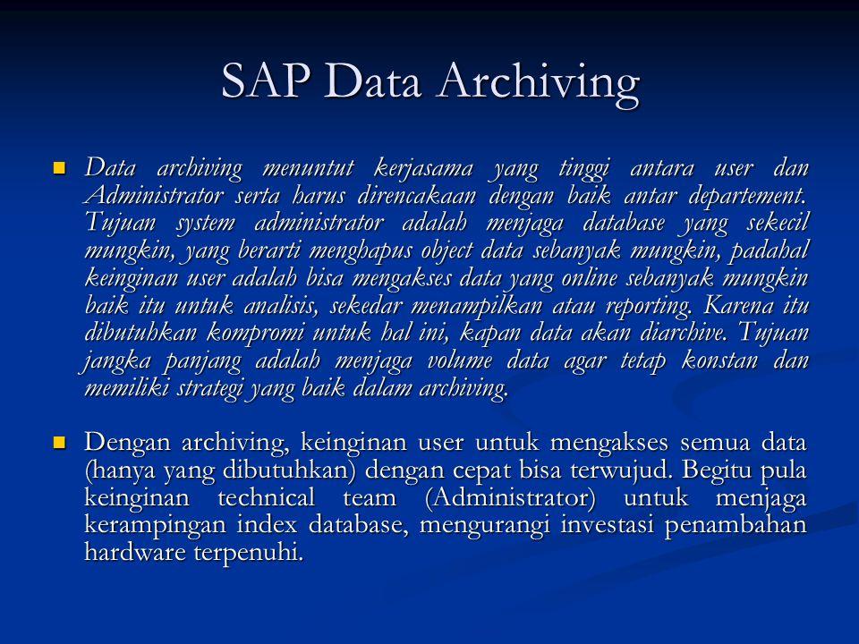 SAP Data Archiving  Data archiving menuntut kerjasama yang tinggi antara user dan Administrator serta harus direncakaan dengan baik antar departement