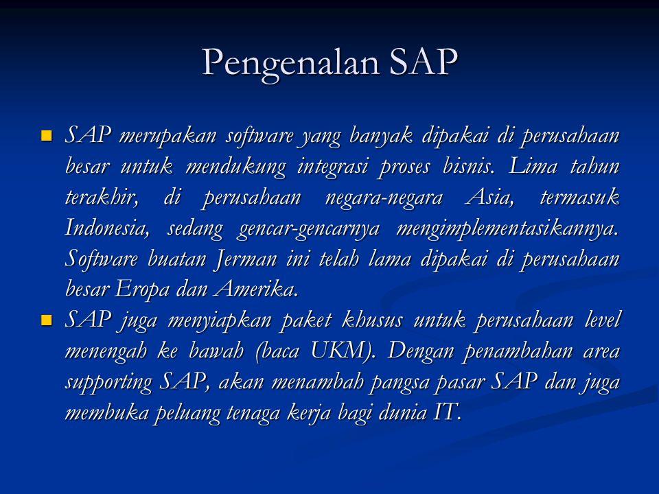 Pengenalan SAP  SAP merupakan software yang banyak dipakai di perusahaan besar untuk mendukung integrasi proses bisnis. Lima tahun terakhir, di perus