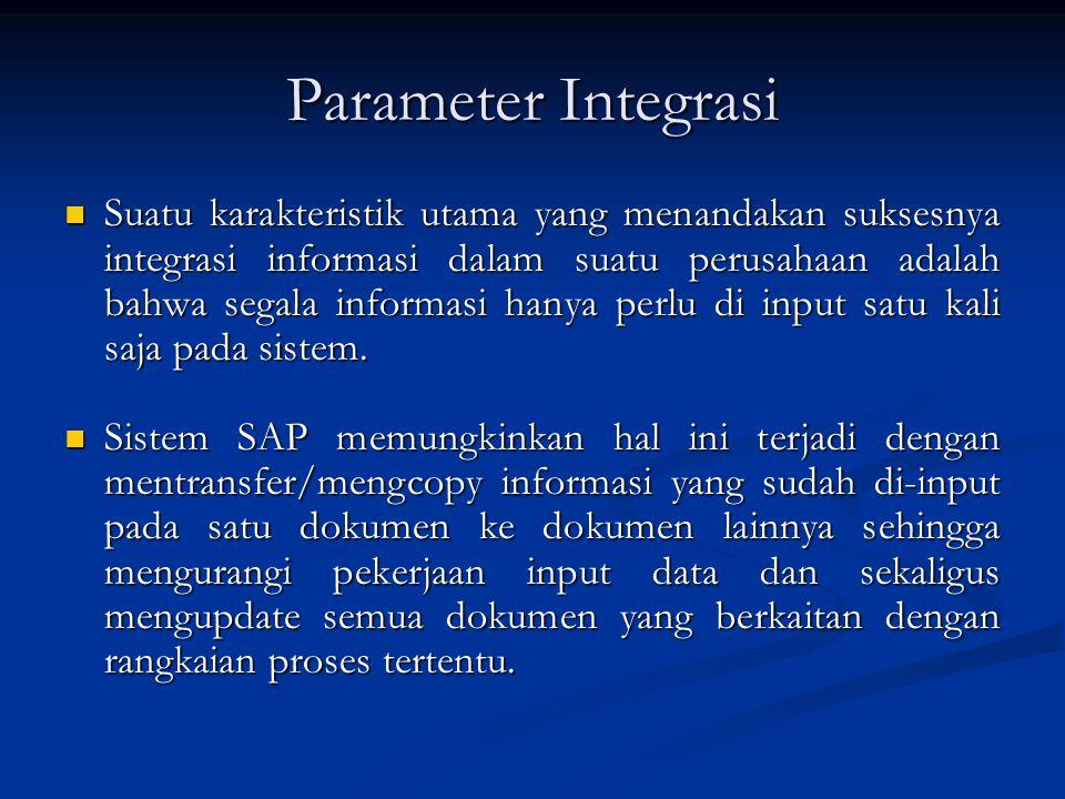 Parameter Integrasi  Suatu karakteristik utama yang menandakan suksesnya integrasi informasi dalam suatu perusahaan adalah bahwa segala informasi han