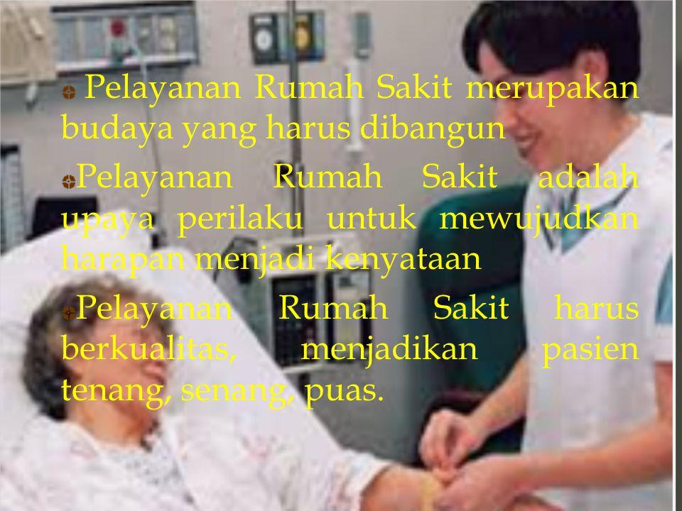 Pelayanan Rumah Sakit merupakan budaya yang harus dibangun Pelayanan Rumah Sakit adalah upaya perilaku untuk mewujudkan harapan menjadi kenyataan Pela