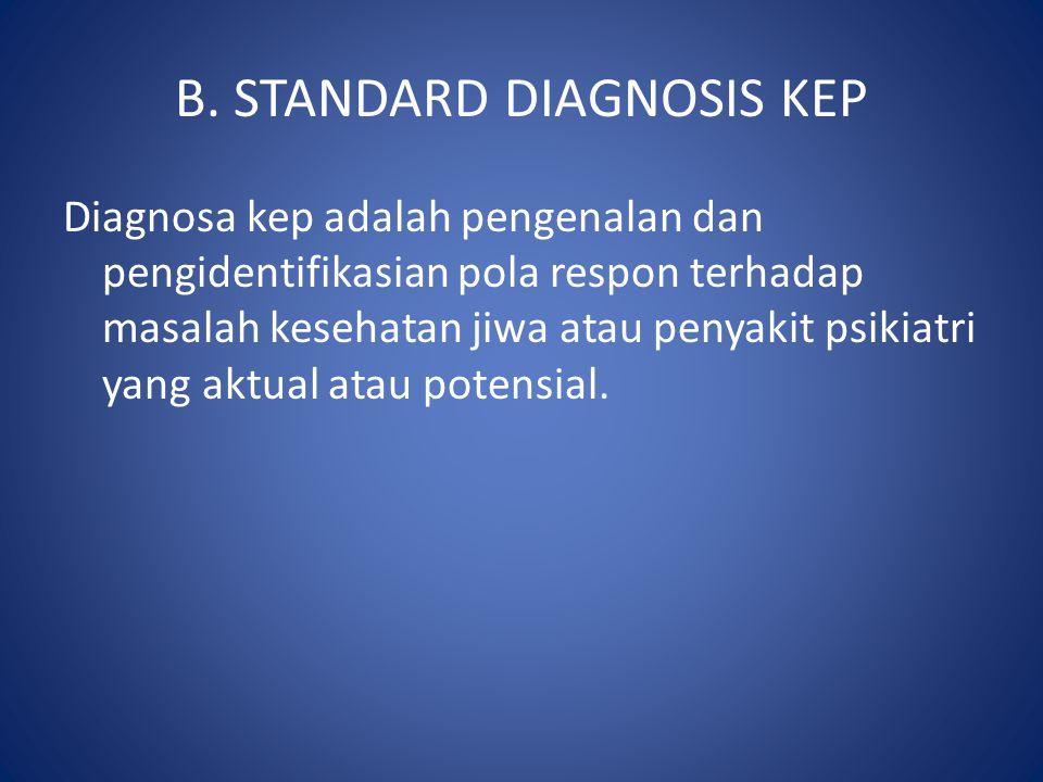 B. STANDARD DIAGNOSIS KEP Diagnosa kep adalah pengenalan dan pengidentifikasian pola respon terhadap masalah kesehatan jiwa atau penyakit psikiatri ya