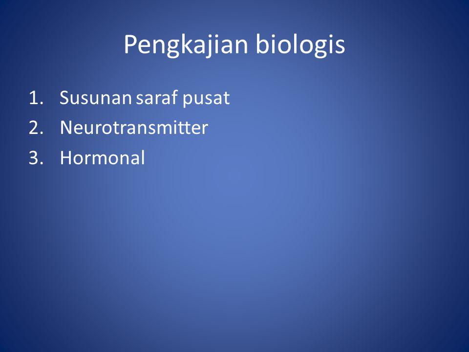 Pengkajian biologis 1.Susunan saraf pusat 2.Neurotransmitter 3.Hormonal