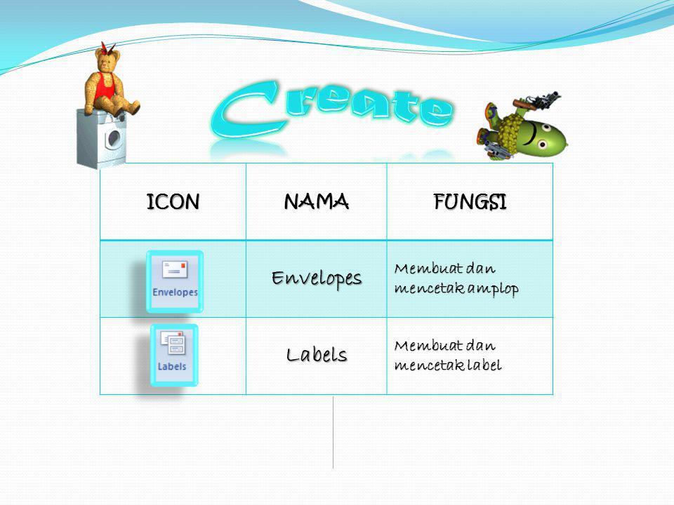 ICONNAMAFUNGSIEnvelopes Membuat dan mencetak amplop Labels Membuat dan mencetak label