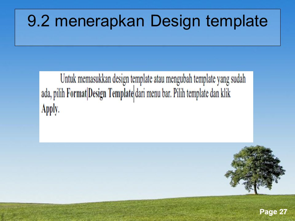 Powerpoint Templates Page 27 9.2 menerapkan Design template