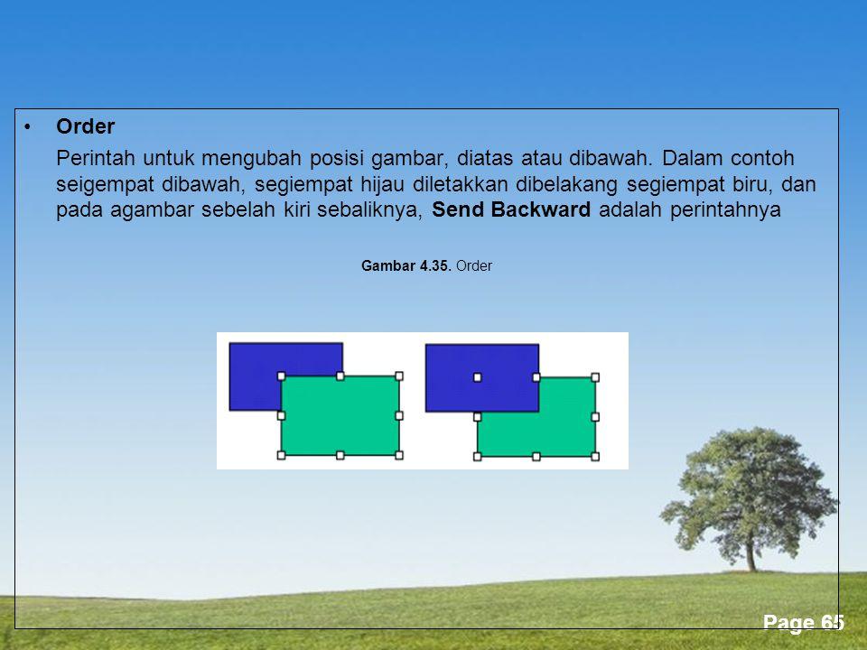 Powerpoint Templates Page 65 •Order Perintah untuk mengubah posisi gambar, diatas atau dibawah.