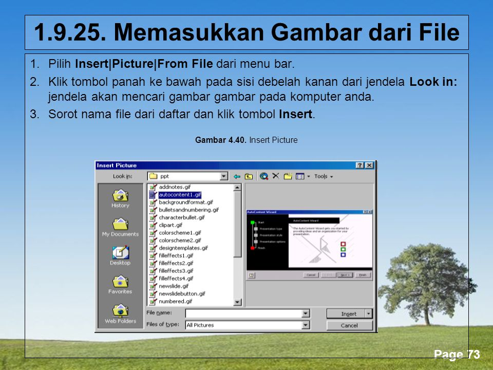 Powerpoint Templates Page 73 1.9.25.Memasukkan Gambar dari File 1.