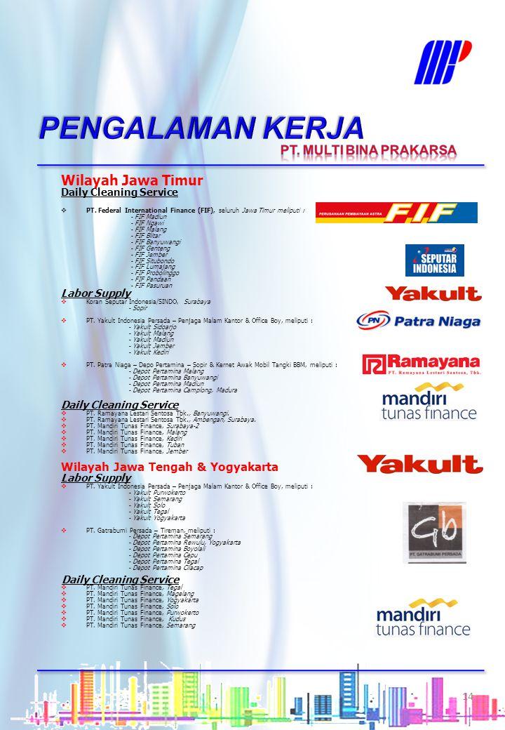Wilayah Jawa Barat & Serang Daily Cleaning Service  PT. Tunas Mobilindo, Cilegon  PT. Tunas Mobilindo, Jl. A. Yani, Bandung  PT. Tunas Mobilindo, J