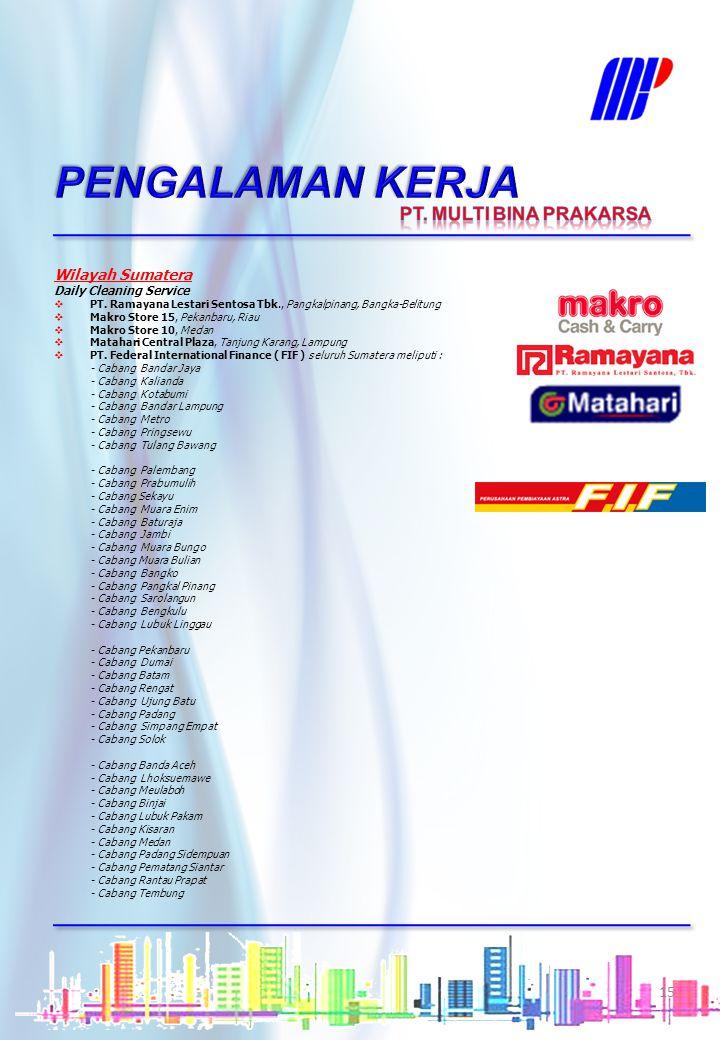 Wilayah Jawa Timur Daily Cleaning Service  PT. Federal International Finance (FIF), seluruh Jawa Timur meliputi : - FIF Madiun - FIF Ngawi - FIF Mala