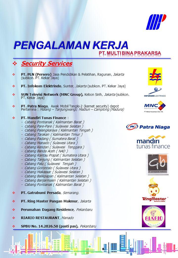 Wilayah Sulawesi & Maluku Labor Supply  PT. Yakult Indonesia Persada – Penjaga Malam Kantor & Office Boy, meliputi : - Yakult Makassar - Yakult Manad