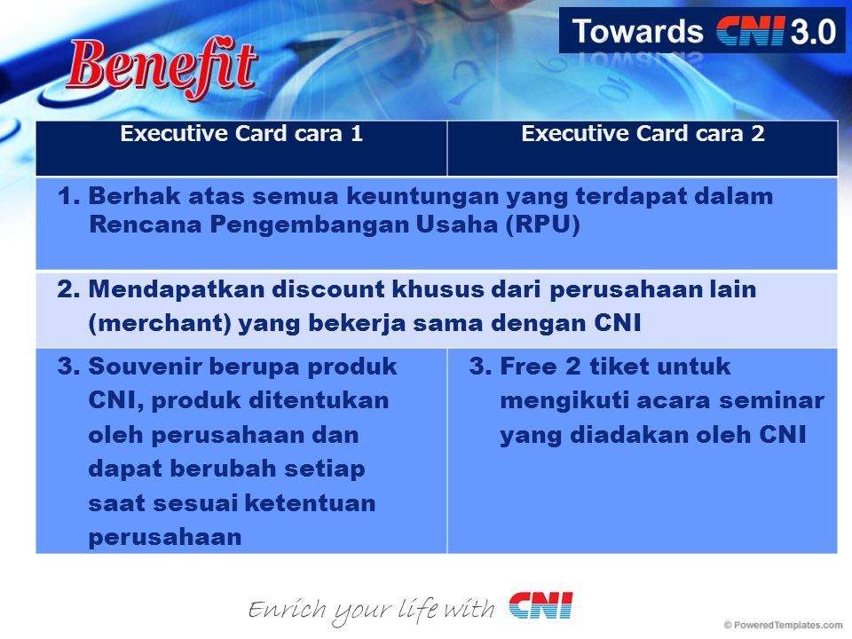 Enrich your life with Executive Card cara 1Executive Card cara 2 1. Berhak atas semua keuntungan yang terdapat dalam Rencana Pengembangan Usaha (RPU)
