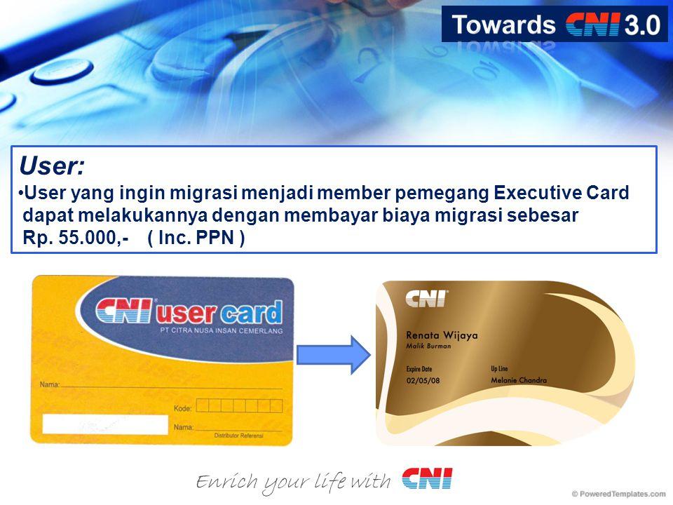User: •User yang ingin migrasi menjadi member pemegang Executive Card dapat melakukannya dengan membayar biaya migrasi sebesar Rp.