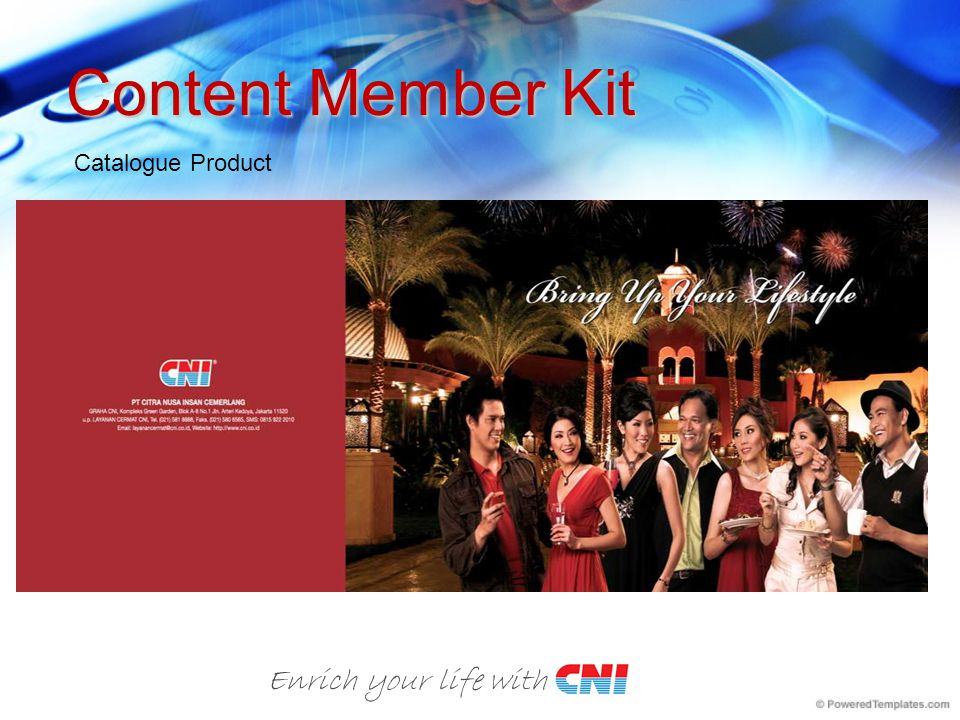 Content Member Kit Catalogue Product Enrich your life with