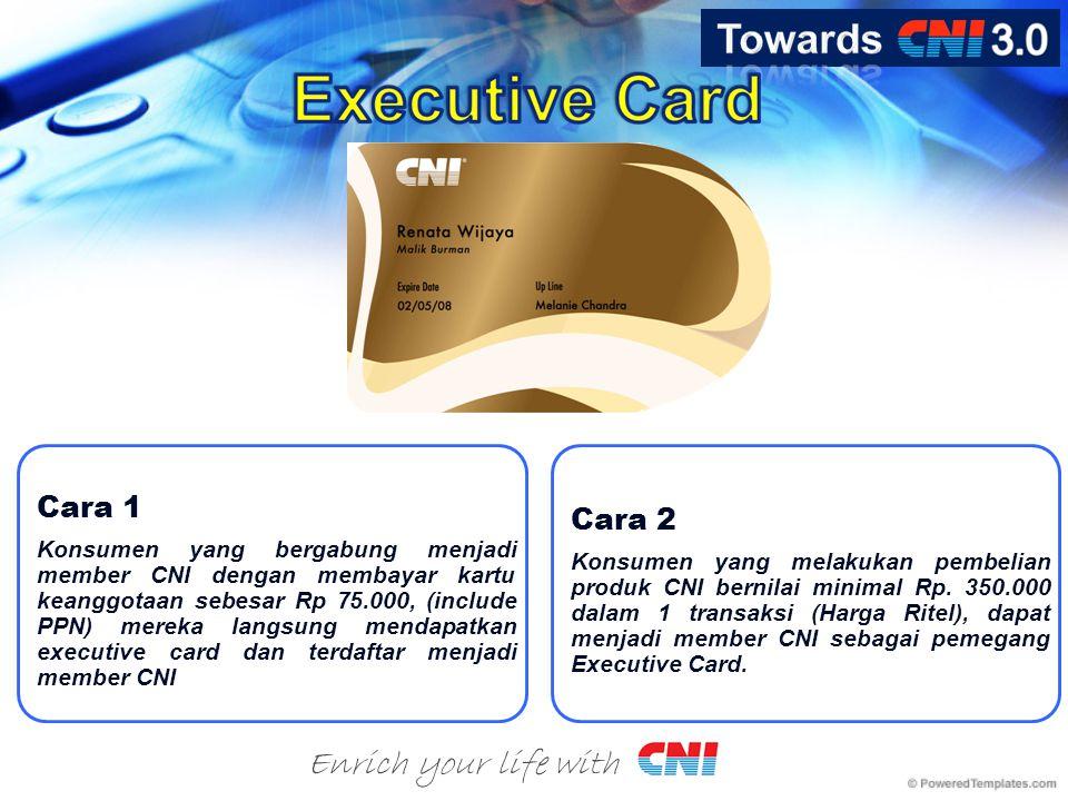 Enrich your life with Cara 1 Konsumen yang bergabung menjadi member CNI dengan membayar kartu keanggotaan sebesar Rp 75.000, (include PPN) mereka langsung mendapatkan executive card dan terdaftar menjadi member CNI Cara 2 Konsumen yang melakukan pembelian produk CNI bernilai minimal Rp.