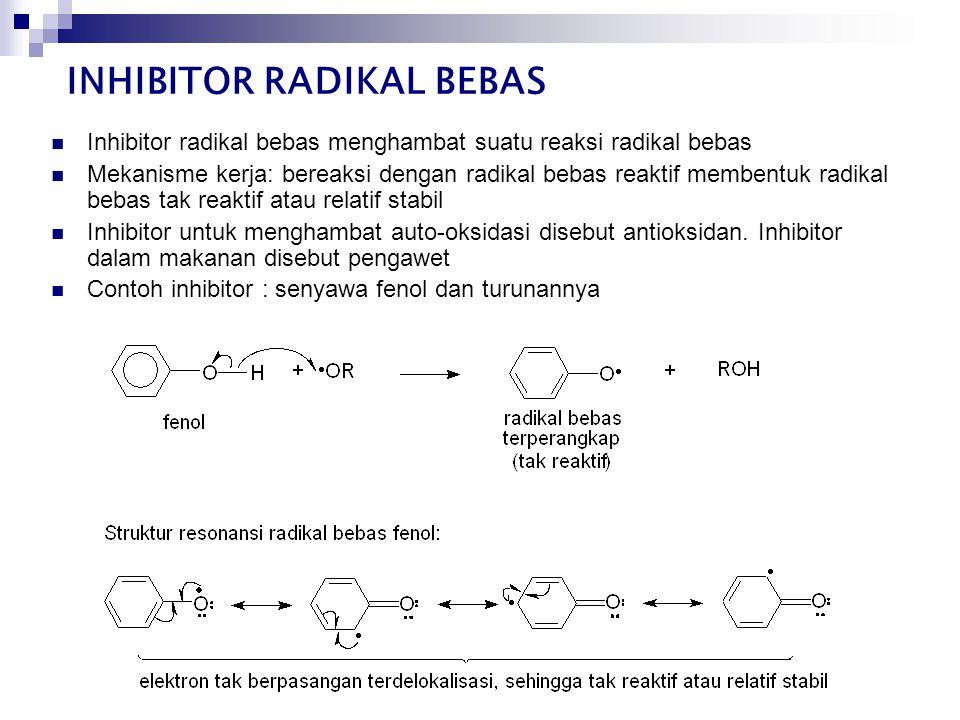  Inhibitor radikal bebas menghambat suatu reaksi radikal bebas  Mekanisme kerja: bereaksi dengan radikal bebas reaktif membentuk radikal bebas tak reaktif atau relatif stabil  Inhibitor untuk menghambat auto-oksidasi disebut antioksidan.