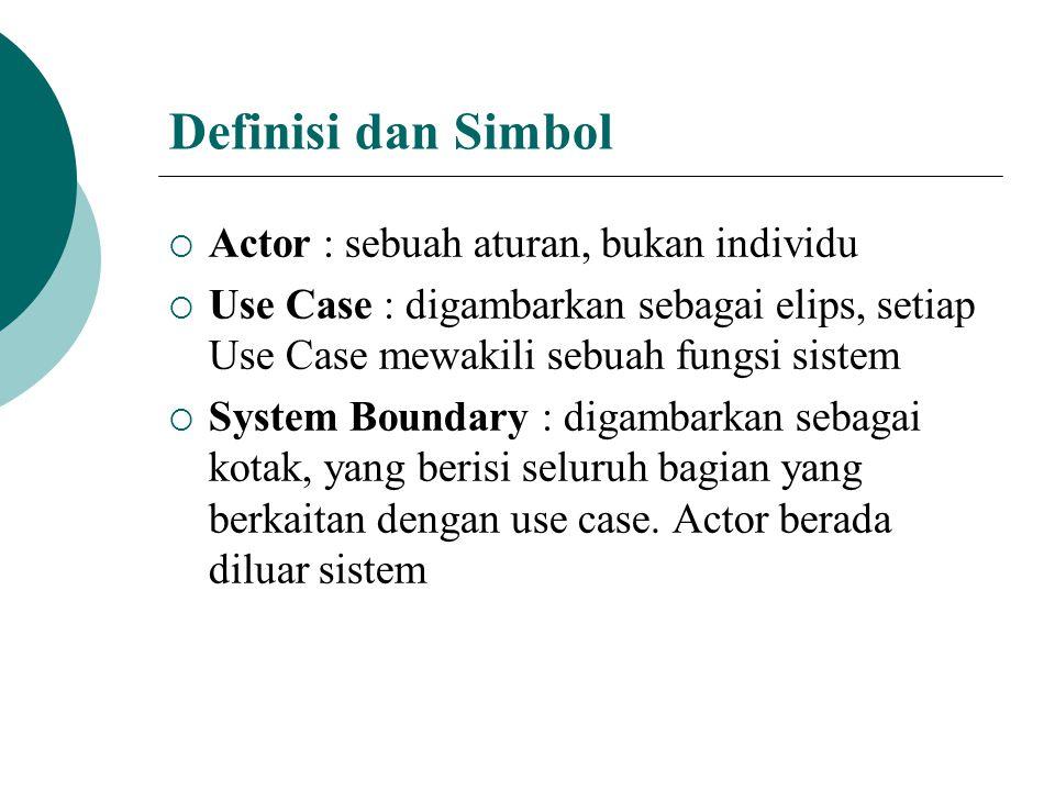  Connection :  digambarkan sebagai garis  Garis tebal berarti Actor dilibatkan dalam fungsi sistem tertentu  Tidak berarti Actor mengirim atau menerima data dari use case  Panah putus 2 menghubungkan antar use case dengan label > dan tidak menjelaskan data atau proses