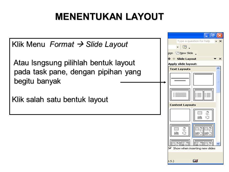 MENENTUKAN LAYOUT Klik Menu Format  Slide Layout Atau lsngsung pilihlah bentuk layout pada task pane, dengan pipihan yang begitu banyak Klik salah sa