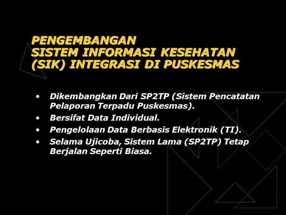 PENGEMBANGAN SISTEM INFORMASI KESEHATAN (SIK) INTEGRASI DI PUSKESMAS •Dikembangkan Dari SP2TP (Sistem Pencatatan Pelaporan Terpadu Puskesmas). •Bersif