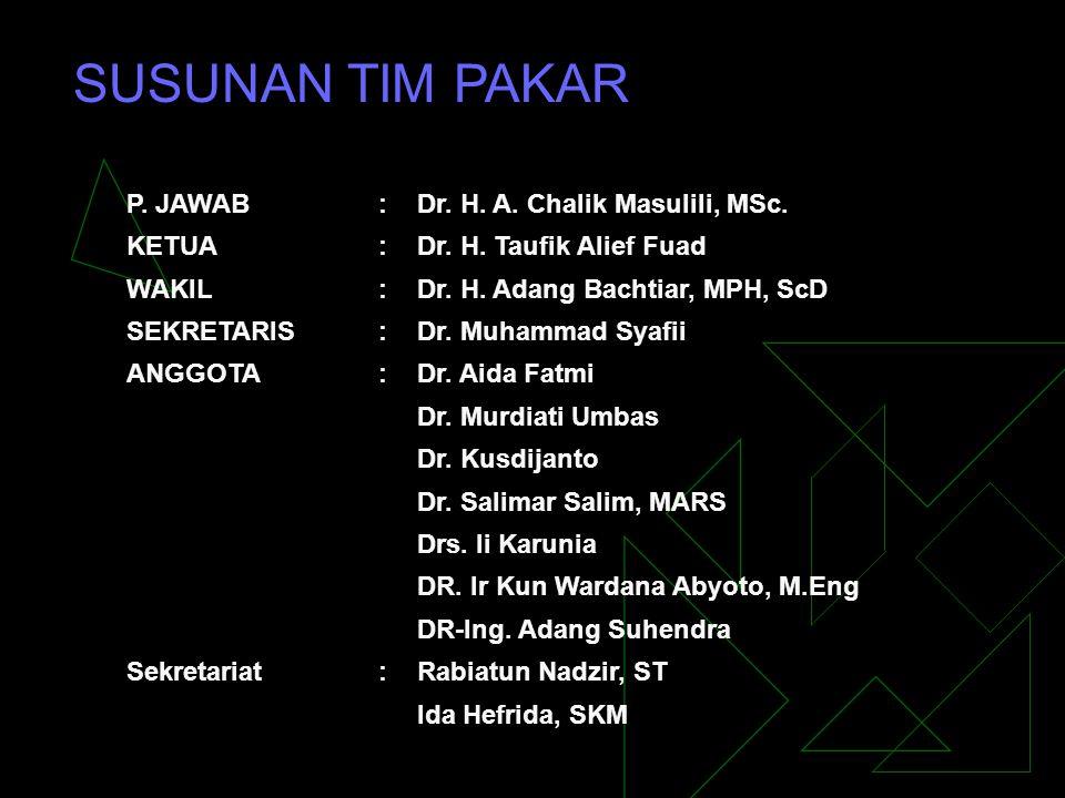 P. JAWAB:Dr. H. A. Chalik Masulili, MSc. KETUA:Dr. H. Taufik Alief Fuad WAKIL:Dr. H. Adang Bachtiar, MPH, ScD SEKRETARIS:Dr. Muhammad Syafii ANGGOTA:D