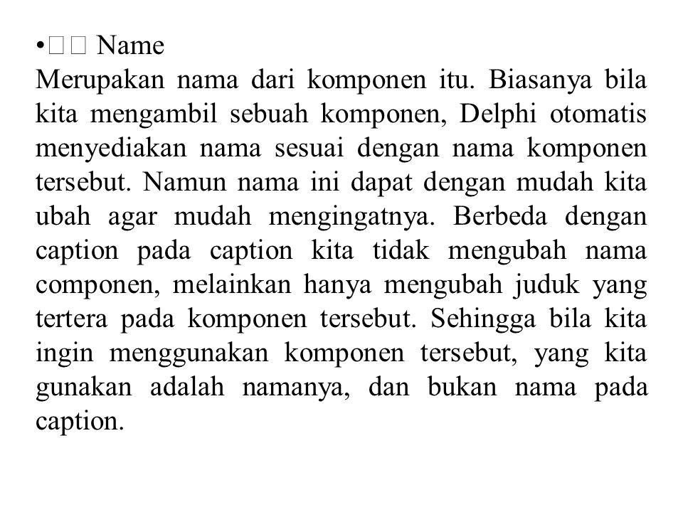 • Name Merupakan nama dari komponen itu. Biasanya bila kita mengambil sebuah komponen, Delphi otomatis menyediakan nama sesuai dengan nama komponen te