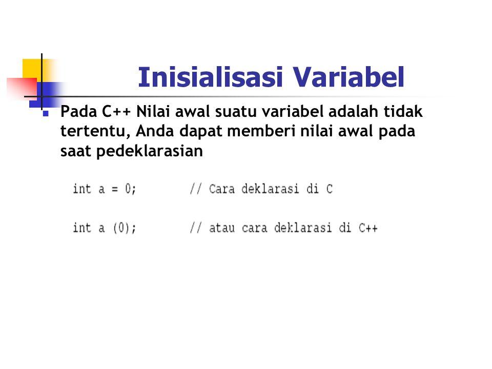 Inisialisasi Variabel  Pada C++ Nilai awal suatu variabel adalah tidak tertentu, Anda dapat memberi nilai awal pada saat pedeklarasian