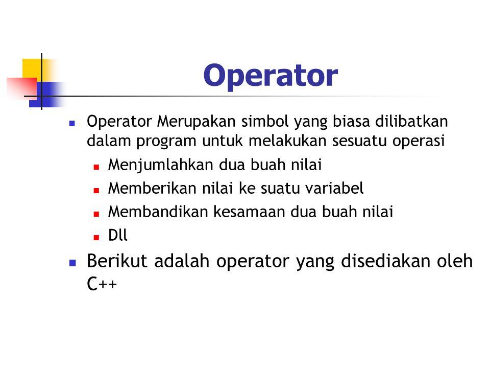 Operator  Operator Merupakan simbol yang biasa dilibatkan dalam program untuk melakukan sesuatu operasi  Menjumlahkan dua buah nilai  Memberikan ni